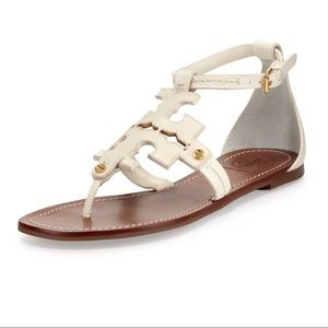 Tory Burch Leather Phoebe Ivory Flat Thong Sandals